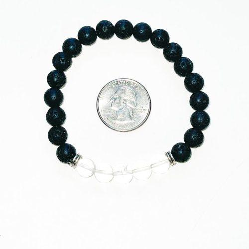 Lava Stone Bracelet 8 mm with Clear Quartz