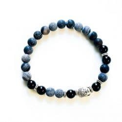 Men's Black Agate Frosted with Buddha Bracelet
