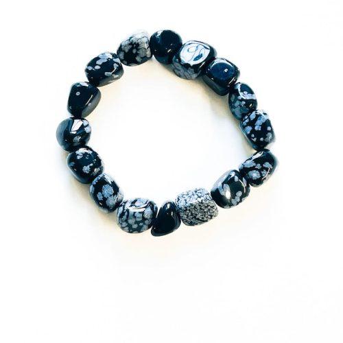 Snowflake Obsidian Nugget Bracelet