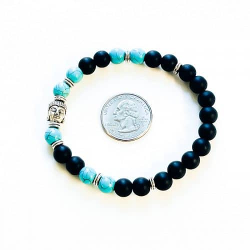 Turquoise Dyed Howlite, Black Matte Beads, and Buddha Bracelet
