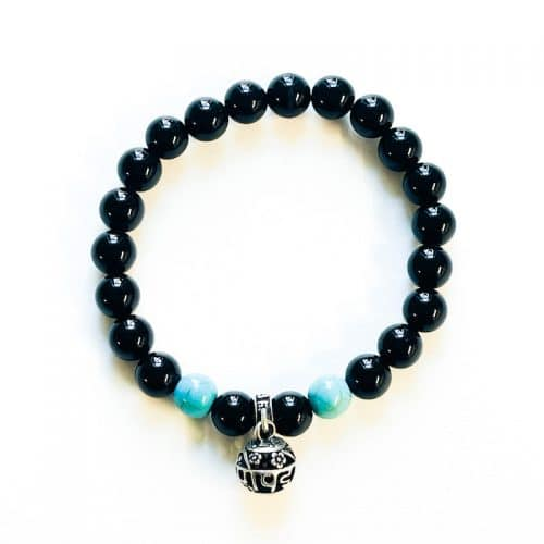 Turquoise Dyed Howlite and Black Obsidian Bracelet