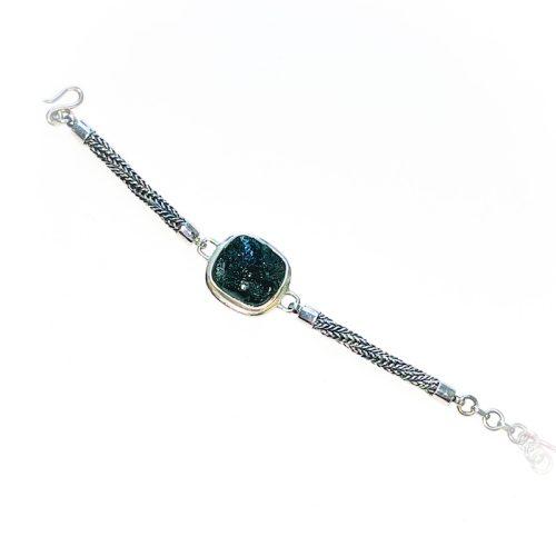 Moldavite Bracelet Sterling Silver