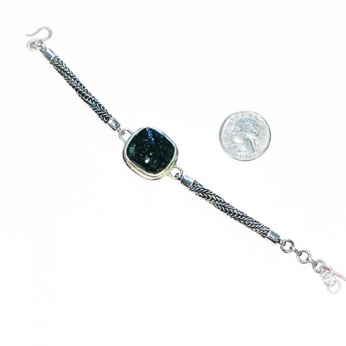 Moldavite Bracelet Sterling Silver with Quarter