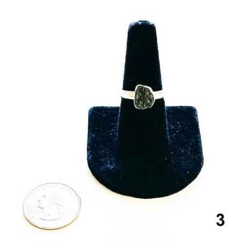 Moldavite Ring Raw Size 8 Plain Band