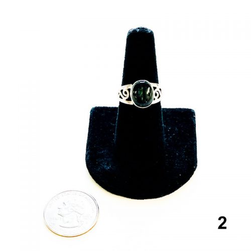 Moldavite Ring Size 8 2 with Quarter