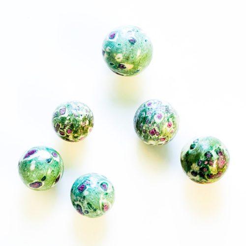 Ruby in Fuchsite Spheres