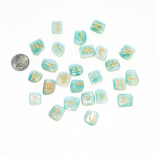 Amazonite Runes with Quarter