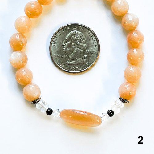Fancy Peach Moonstone Bracelet 2 with Quarter