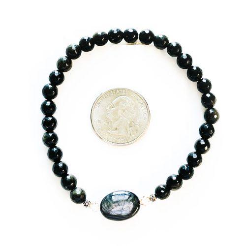 Golden Sheen Obsidian Bracelet with Quarter