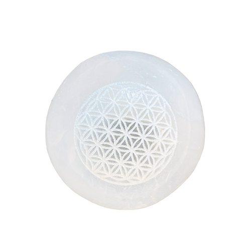 Selenite Sphere with Flower of Life