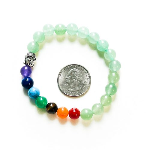 Chakra Bracelet with Green Aventurine with Quarter