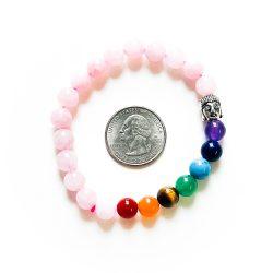 Chakra Bracelet with Rose Quartz with Quarter
