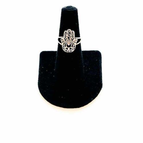 Hamsa Hand Sterling Silver Ring Size 6