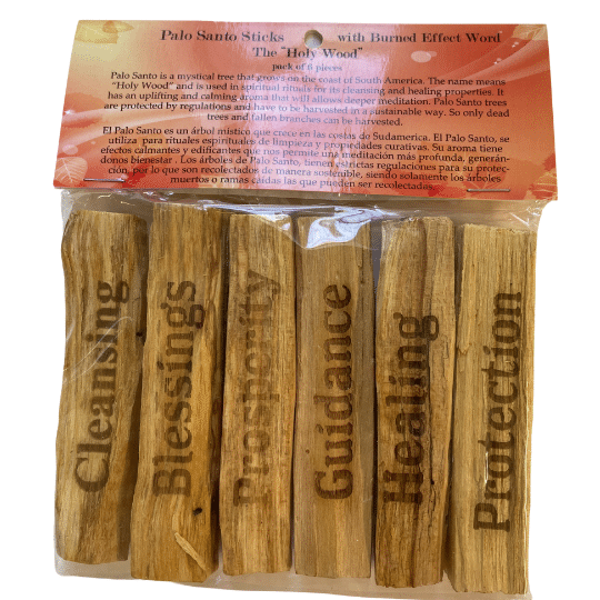 Palo Santo Stick with Burned Effect Word