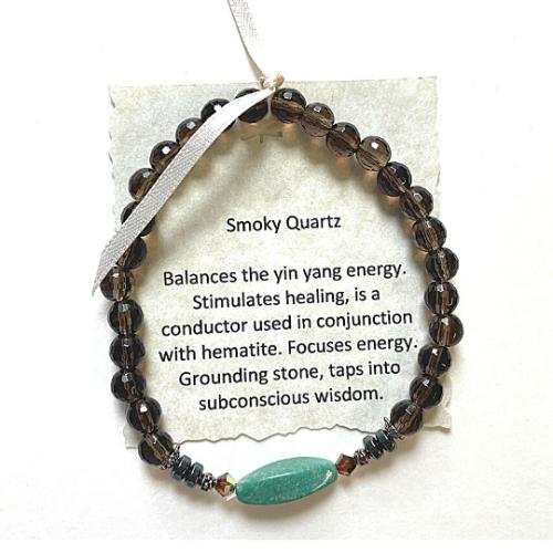 Smokey Quartz with Turquoise Accent Bead #2