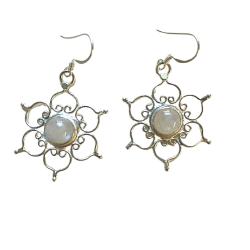 Moonstone Lotus Sterling Silver Earrings Cover Photo