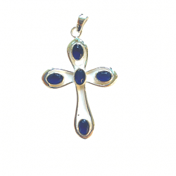 Sapphire Sterling Silver Cross Pendant cover photo