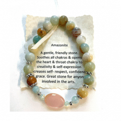 Amazonite with Mother of Pearl Focal Bead Bracelet