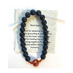 Black Agate Bracelet with Carnelian Bead Bracelet
