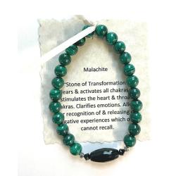 Malachite with black onyx bead Bracelet