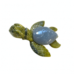 Serpentine and Angelite Turtle from Peru