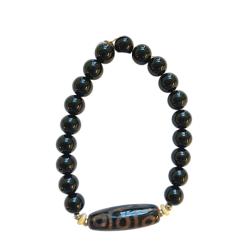 Black Obsidian 8mm Men's Bracelet elongated focal bead TA
